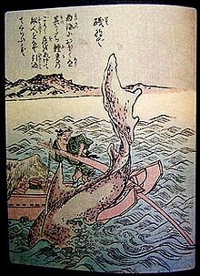 """Isonade (磯撫で, """"beach stroker""""[citation needed]) is an enormous, shark-like sea monster said to live off the coast of Matsuura[citation needed] and other places in Western Japan.[citation needed]  [edit]"""