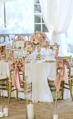 Floral Wedding Centerpieces Planning and Tips - Love It All Dusty Rose Wedding, Floral Wedding, Wedding Bouquet, Gold Wedding, Wedding Chairs, Wedding Table, Wedding Centerpieces, Wedding Decorations, Centerpiece Flowers
