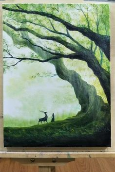 How to paint misty FOREST & DEER for girls videos crafts crafts crafts Diy Art Painting, Painting Art Lesson, Art Drawings, Nature Art Painting, Amazing Art Painting, Diy Canvas Art Painting, Creative Painting, Nature Paintings, Canvas Painting