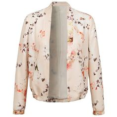 Floral casual jacket ($30) ❤ liked on Polyvore featuring outerwear, jackets, grey, pink, floral jacket, pink jacket, multi colored jacket, colorful jackets and floral print jacket
