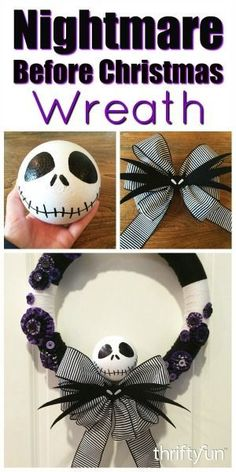 This is a guide about making a Nightmare Before Christmas yarn wreath. For the fans of this popular movie, you can make a Halloween wreath using decorative elements from the film. king Making a Nightmare Before Christmas Yarn Wreath Disney Halloween, Fete Halloween, Diy Halloween Decorations, Halloween Crafts, Holiday Crafts, Diy Halloween Yarn Wreath, Halloween Foods, Halloween Stuff, Nightmare Before Christmas Decorations