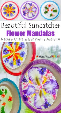Beautiful Suncatcher Mandalas Nature Craft and Symmetry Activity: As kids create art they can explore nature, count, and decorate symmetrical circles using a paper plate and our free symmetrical circles template (flowers, spring, summer, math)