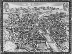 1630 - Vue de Paris - Sauve I want this. Old Maps, Antique Maps, Paris Pictures, Old Pictures, Paris Map, Paris France, Concorde, Plan Paris, French History