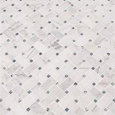 MSI Calacatta Cressa Basketweave Honed Marble Mosaic Tile in White Mosaic Bathroom, Bathroom Floor Tiles, Shower Floor, Tile Floor, Master Bathroom, Wall Tile, Mirrored Tile Backsplash, Small Bathroom, Kid Bathrooms