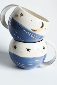 Handmade Ceramic Mugs With Gold Detail | karoArt on Etsy