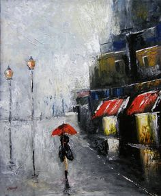 Under the Red Umbrella  Original oil Painting by halinapl on Etsy, $239.00