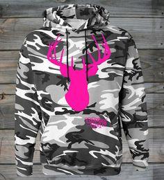 Women's Country Girl ® Deer Head Camouflage Hoodie