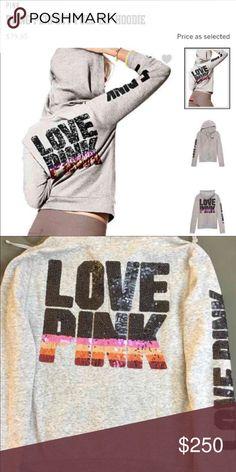 PINK VS Bling Full Zip Hoodie ❤️❤️❤️ VS PINK Bling Hoodie. Excellent used condition. PINK Victoria's Secret Tops Sweatshirts & Hoodies