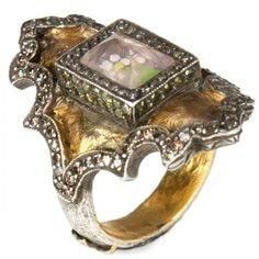24ct gold and stg silver Theodora ring with white and lemon diamonds by Sevan Bicakci