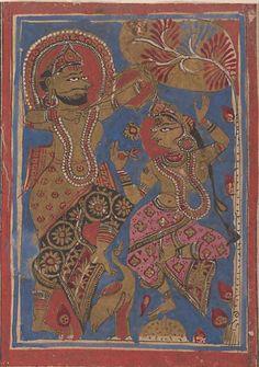 Jain Art Courtesan Kosa with the kings charioteer MET Museum Indian Folk Art, Indian Artist, Indian Art Paintings, Old Paintings, Mughal Miniature Paintings, King Painting, Digital Art Fantasy, India Art, Buddhist Art