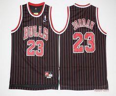 NBA Chicago Bulls 23 Michael Jordan Black Red Stripe Basketball Jersey
