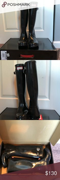 Hunter Rain Boots Gloss black hunter rain boots // size 7 // worn twice // I've cleaned the boots but they may need another coat of cleaner to sparkle! // including a pair of brown hunter boots socks // box is included but has some wear and tear from moving  **Price is FIRM** Hunter Boots Shoes Winter & Rain Boots