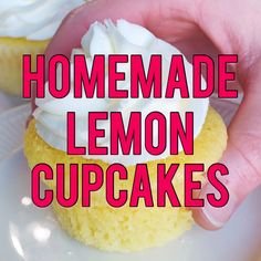 Homemade Lemon Cupcake Recipe These homemade lemon cupcakes are soft and flavorful, decorated with swirls of lemon buttercream to enhance the lemon flavor even more. Such a yummy treat! Lemon Cupcakes, Mini Cupcakes, Cupcake Cakes, Strawberry Cupcakes, Birthday Cupcakes, Cupcake Recipes, Dessert Recipes, Homemade Lemon Cake, Lemon Buttercream