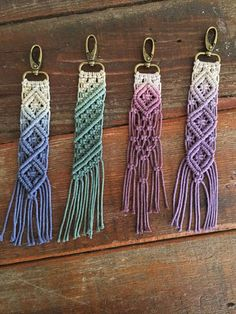 "Macrame keychains/bag accessory ""Roadies"" by KnottyNaturedHB on Etsy https://www.etsy.com/listing/513471378/macrame-keychainsbag-accessory-roadies"