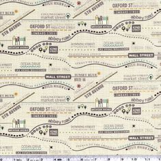 Map prints are so hard to find! This one highlights landmarks on a tiny background grid pattern. This quilting weight fabric is 44/45