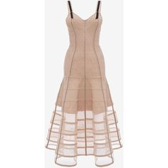 Alexander McQueen Bustier Midi Knit Dress (€4.780) ❤ liked on Polyvore featuring dresses, alexander mcqueen, blush pink, floral dresses, pink bustier, pink floral dress, knit midi dress and pink midi dress