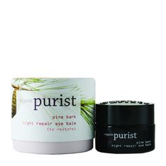 "100% Pure: Purist Pine Bark Night Repair Eye Balm: ""Intensely moisturizing, antioxidant and vitamin packed eye balm restores for healthier and more youthful skin. Drastically lessens wrinkles, crows feet and creppiness while increasing firmness. Use nightly all around eyes, including lids."" / $48.00"