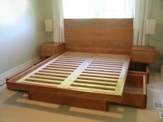 King platform beds custom-platform bed with drawers and sidetables uqedihh - Klasweb Platform Bed With Drawers, Bed Frame With Drawers, King Size Platform Bed, Platform Beds, Reclaimed Wood Beds, Platform Bed Designs, Woodworking Bed, Woodworking Classes, Woodworking Videos