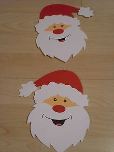 Window picture - chain decoration clay cardboard tinker winter Santa Claus face red So Christmas Activities, Christmas Crafts For Kids, Diy Christmas Ornaments, Xmas Crafts, Christmas Art, Simple Christmas, Diy And Crafts, Christmas Decorations, Crafts With Pictures