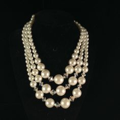 Stunning Early 1960s Three Strand Choker Necklace 7943