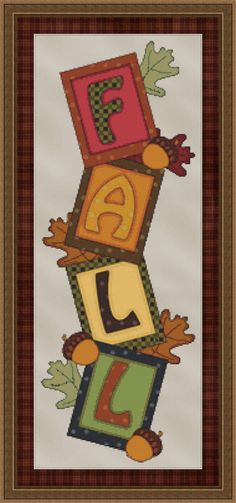 Counted Cross Stitch Pattern Fall Banner INSTANT DOWNLOAD PDF - StitchX