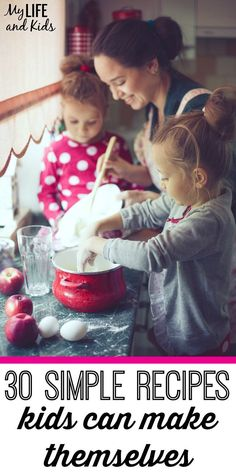 Cooking with Kids. Get your kids in the kitchen with these 30 easy recipes for kids! My son wouldn't eat some of these foods, until he learned how to make them himself. Super simple recipes that your kids can make themselves. Also great first-time recipes for cooking with toddlers. Cooking Recipes For Kids, Kids Cooking Recipes Easy, Recepies For Kids, Simple Recipes For Kids, Baking With Kids Easy, Children Recipes, Baking With Toddlers, Kid Recipes, Kid Cooking