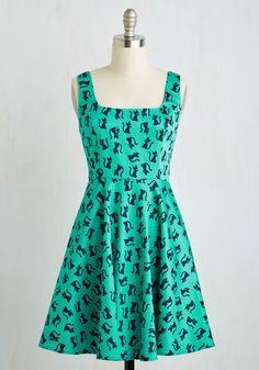 Very Charming Dress in Cats - Green, Blue, Print with Animals, Print, Casual, Cats, Critters, A-line, Sleeveless, Knit, Good, Mid-length