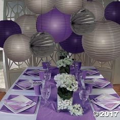Finally, a simple and safe way to light your paper lanterns! Hang individual lights inside lanterns to add a beautiful glow to your wedding reception . Purple Table Decorations, Purple Table Settings, Sweet 16 Party Decorations, Engagement Party Decorations, Wedding Reception Decorations, Birthday Party Decorations, Light Decorations, Paper Lanterns Party, Hanging Paper Lanterns