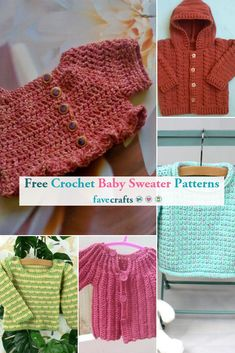 Make free crochet baby sweater patterns and pattern sets with this roundup! Discover one piece sweaters, cardigans, and more for baby boys and girls. Crochet Baby Sweater Pattern, Crochet Baby Sweaters, Baby Sweater Patterns, Crochet Baby Clothes, Baby Knitting Patterns, Crochet Patterns, Baby Shower Gifts To Make, Diy Baby Gifts, Baby Crafts