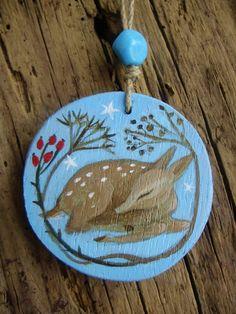 Woodland Sleepy Fawn Pendant by Karen Davis Moonlight and Hares