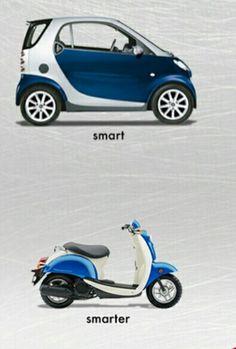 Esta comparando una moto pequeña con un coche pequeño.