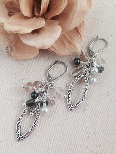 Antique Pewter and Crystal Earrings