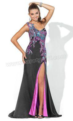One Shoulder Front Slit Long Full Length Asymmetric Black Prom Dress