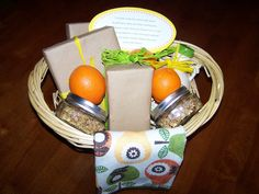 """good idea for boss too  """"You have made this school year great, by getting up early and often working late.  Now summer is here and you will have time to rest, use these goodies for a late morning breakfast!  Thank you for being a terrific teacher this year!""""  In the basket I included granola, peach tea, blueberry muffin mix, pancake mix, maple syrup, honey, oranges and a kitchen towel."""