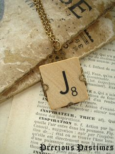 Vintage SCRABBLE Letter J Necklace. Lovely Old Wood Tile Initial Wrapped in Antiqued Brass Filigree. Monogram Necklace.