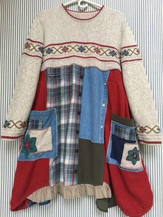 Upcycled Patchwork sweater dress Vintage Country Girl Loose