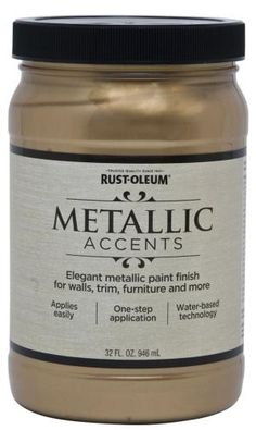 Rustoleum is known for it's spray paints and brush on enamels; I have had a good time working with the Rustoleum Metallic Accents home interior wall paint. Sold in hardware and home improveme… Gold Painted Walls, Metallic Paint Colors, Metallic Gold Wall Paint, Pewter Paint, Metallic Painted Furniture, Faux Painting, House Painting, Painting An Accent Wall, Home Interior