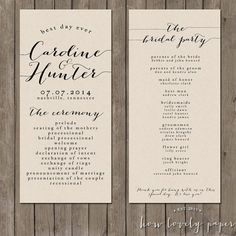 This listing is for a PRINTABLE 4x9 double-sided program for you to print at home or print through a professional printer.