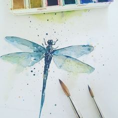 Just a small little dragonfly in watercolour to get back to painting after focusing on acrylics for a few years. #watercolorarts