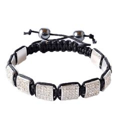 """White CZ Black Macrame Beaded Square Beads Bracelet. """"White Square Bead Bracelet"""" by My Daily Styles. Material: Beads, Black Simulated Onyx, CZ. Length: Adjustable (Approx. 7.50in - 9.00in). Width: Approx. 0.45in. Origin: Imported."""
