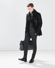 ZARA - MAN - DOUBLE BREASTED THREE QUARTER LENGTH COAT