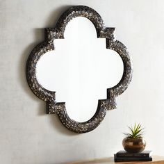 Avalon Mosaic Quatrefoil Mirror Black