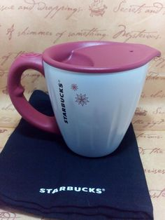 Starbucks mug coffee Stainless.cup Steel Desktop 12 oz red lid.white.Handle. #StarbucksMugsCup