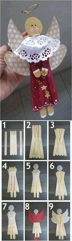 más y más manualidades: Ángeles navideños con palitos de madera