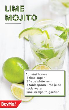 Nothing's more classic than a refreshing cocktail. Check out this traditional Lime Mojito recipe from BevMo! to see how just a few ingredients can create this mixed drink must-have! Drinks Alcohol Recipes, Non Alcoholic Drinks, Bar Drinks, Cocktail Drinks, Cocktail Recipes, Beverages, Fireball Recipes, Drink Recipes, Refreshing Cocktails