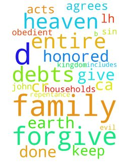 """Lord's Prayer for My Family and Yours -   Father in Heaven, Your Name be Honored, Your Kingdom Come, Your Will be Done, on earth as in heaven. Give us daily bread, forgive our debts, forgive our debtors, keep us from sin and evil. I ask this for my myself, D, my family D, M, B, D, L, S, Br, Lh, Ca, Cr, W, and for whomever agrees and for their entire family (""""Forgive us our debts"""" includes requesting for the salvation of our entire households [repentance and obedient faith] -- John 4:54…"""