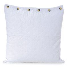 euro sham - bleach white with button closures on one side