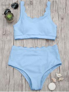 a18eecf451 Scalloped High Waisted Bralette Bikini Set - LIGHT BLUE S Bralette Bikini