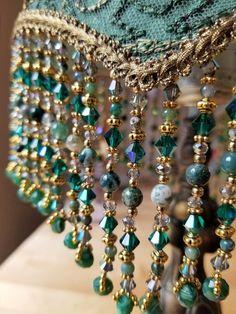 Antique Lamp Victorian Lampshade - Silk with Jasper Stone Beads Handmade Metal Beads, Stone Beads, Antique Table Lamps, Handmade Lampshades, Victorian Lamps, Motifs Perler, Jasper Stone, Ring Verlobung, Decoration