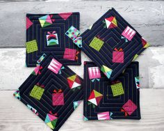 Christmas Coasters, Fabric Coasters, Coaster Set, Quilted Coasters by TheCornishCoasterCo on Etsy